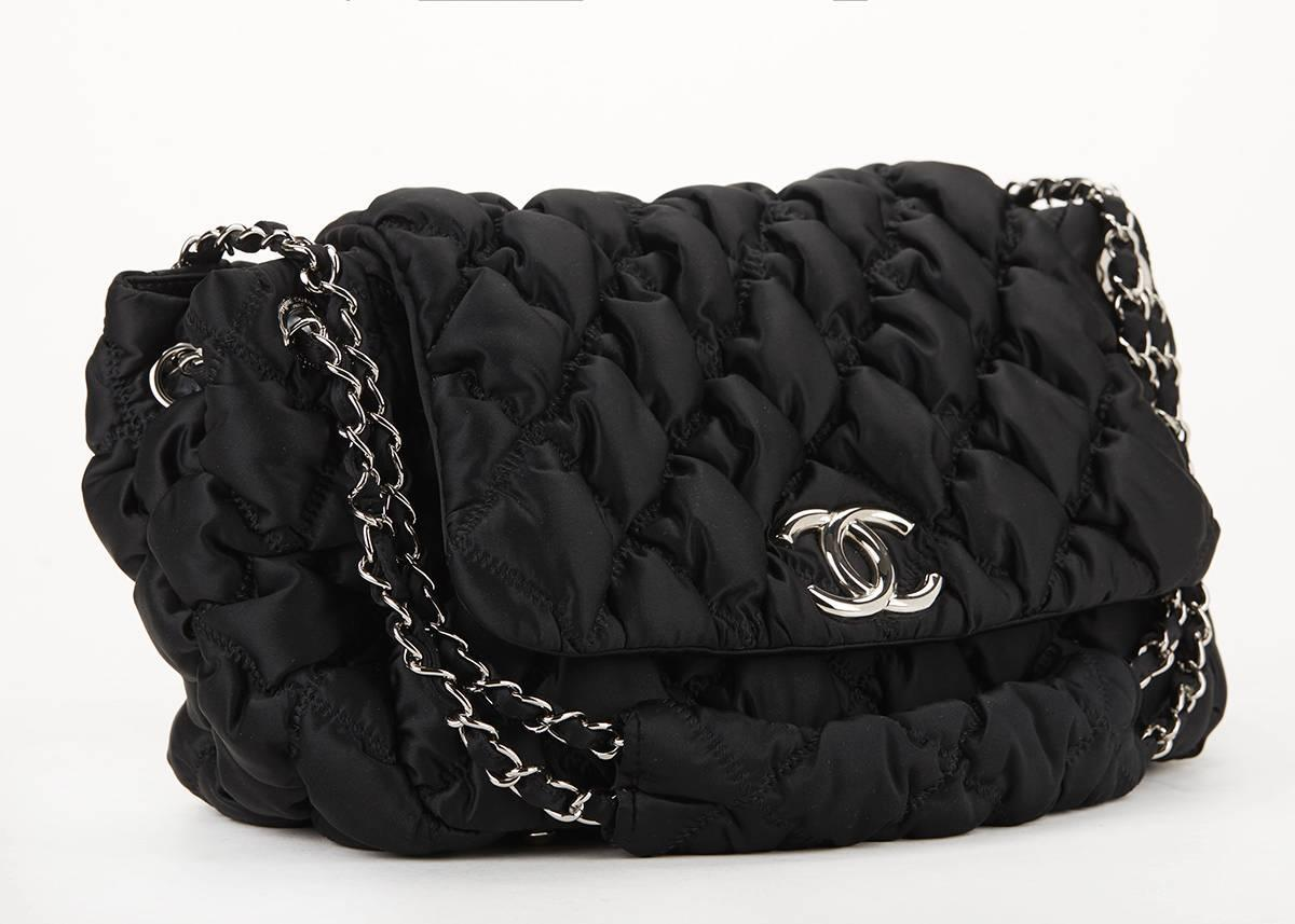 2000 S Chanel Black Bubble Quilted Nylon Single Flap Bag