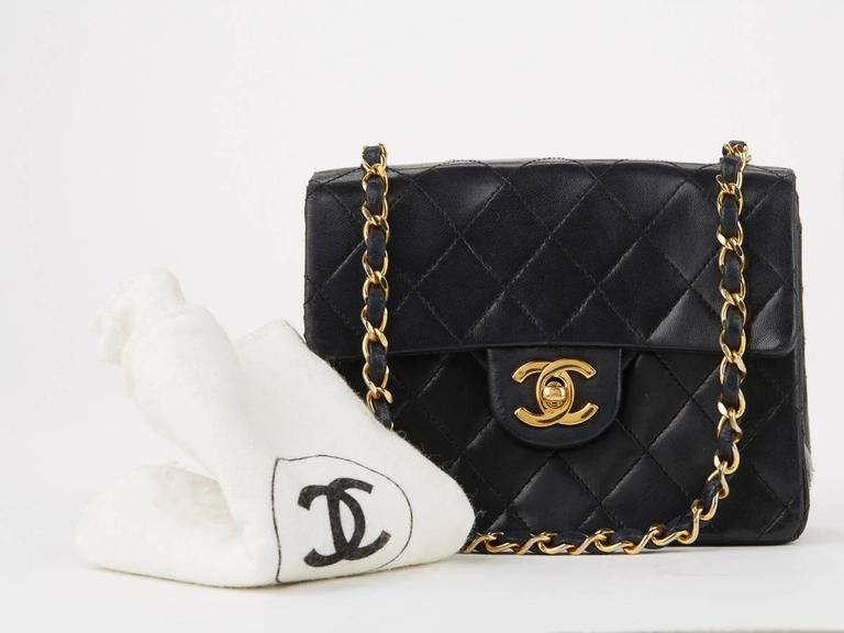 1980s Chanel Black Quilted Lambskin Vintage Mini Flap Bag 10