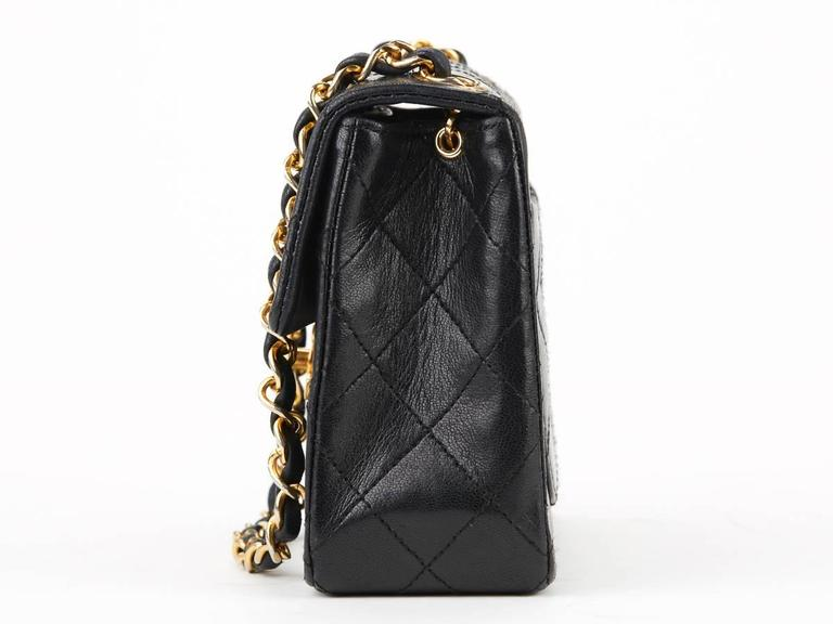 1980s Chanel Black Quilted Lambskin Vintage Mini Flap Bag 2