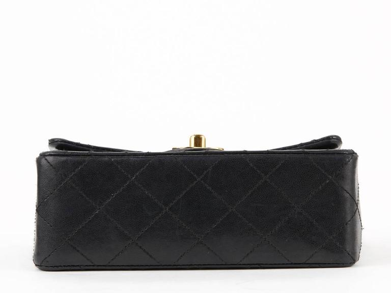 1980s Chanel Black Quilted Lambskin Vintage Mini Flap Bag For Sale 1