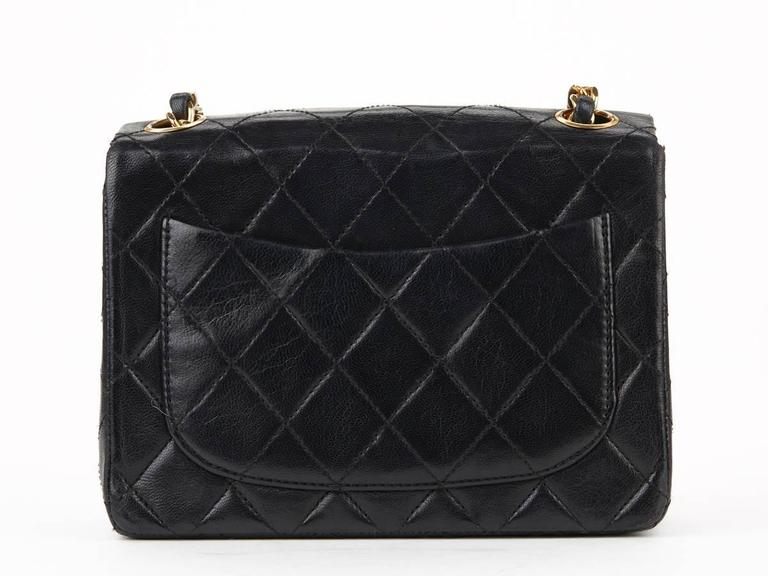 Women's 1980s Chanel Black Quilted Lambskin Vintage Mini Flap Bag For Sale