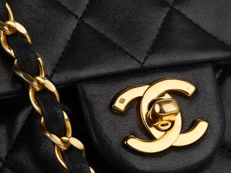 1980s Chanel Black Quilted Lambskin Vintage Mini Flap Bag For Sale 2