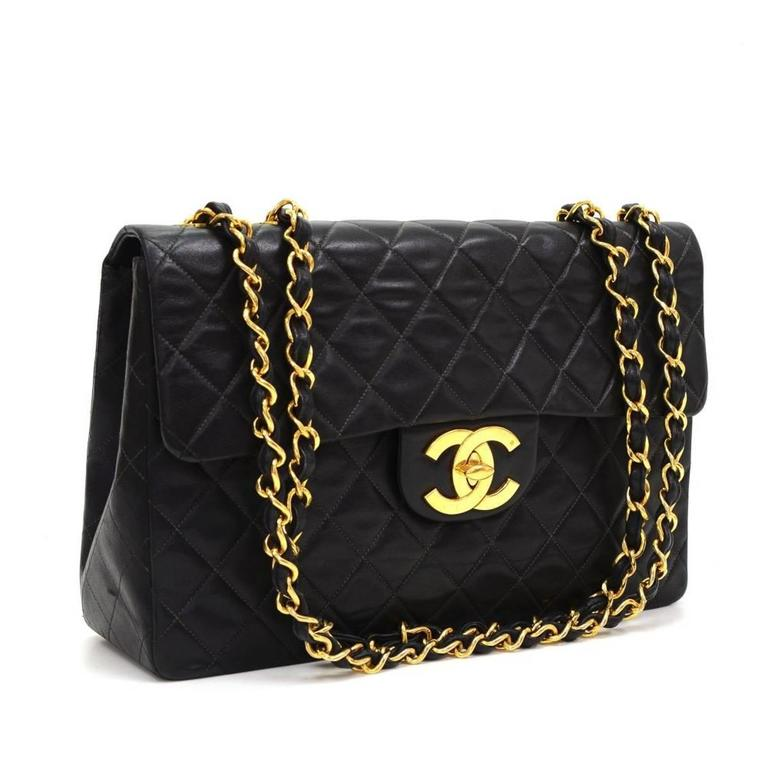 Chanel Black Quilted Lambskin Vintage Maxi Jumbo Xl Flap