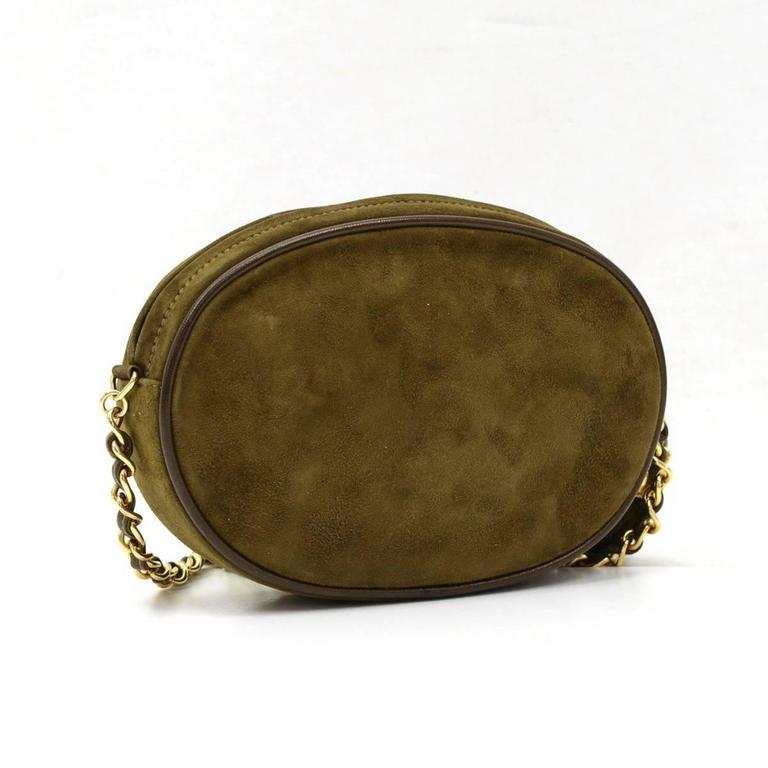 1990s Chanel Olive Green Suede Vintage Timeless Shoulder Bag For Sale 3