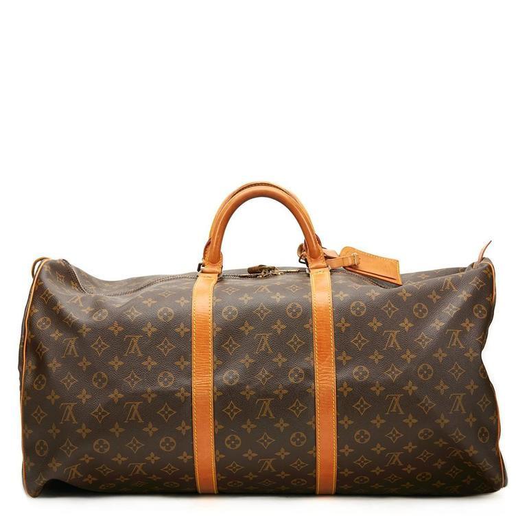 7caeda1ab9b 1980 s Louis Vuitton Brown Classic Monogram Canvas Vintage Keepall 60 In  Excellent Condition For Sale In
