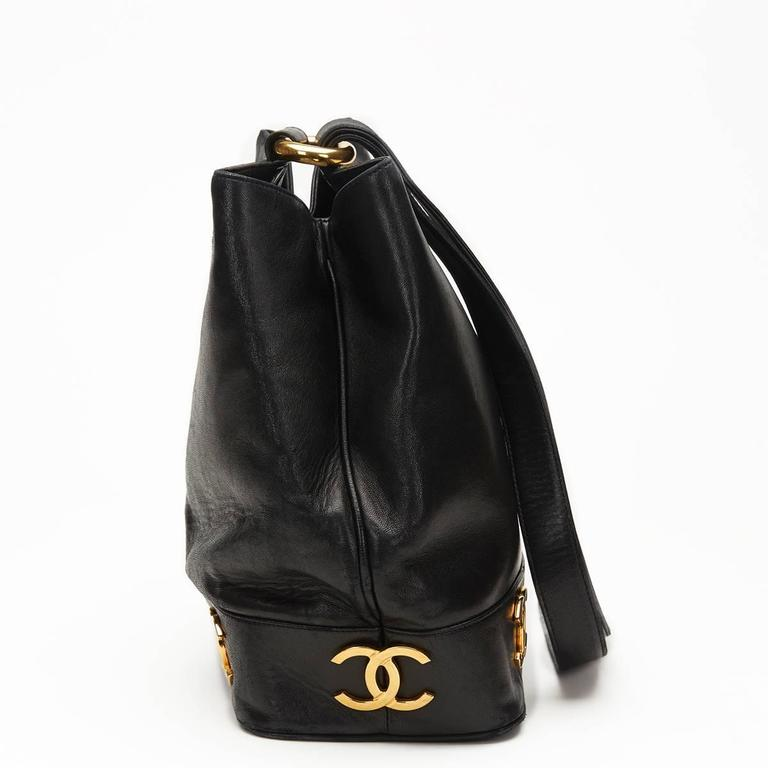 Chanel Black Lambskin Vintage Bucket Bag, 1990s  2
