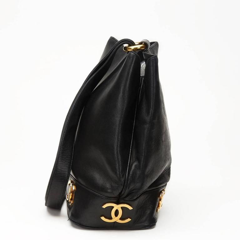 Chanel Black Lambskin Vintage Bucket Bag, 1990s  3