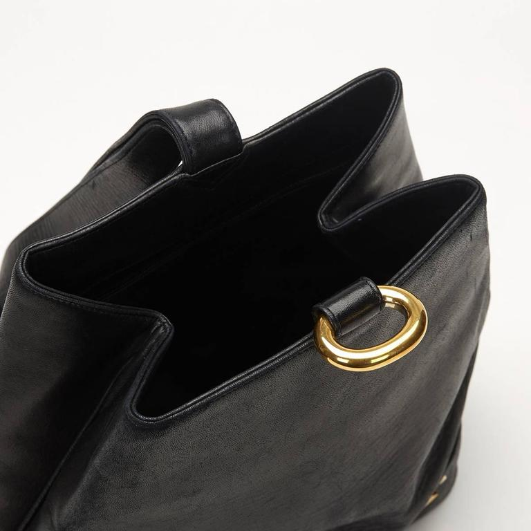 Chanel Black Lambskin Vintage Bucket Bag, 1990s  6