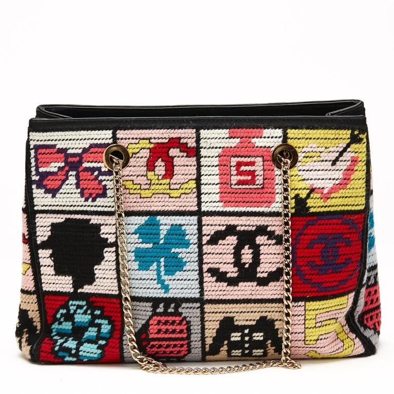 2000s Chanel Multicolour Patchwork Woven Fabric Timeless Shoulder Bag 4