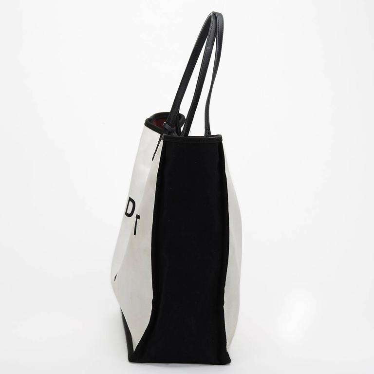 2010s Chanel Black & White Canvas Ladies First Shopper Tote 3