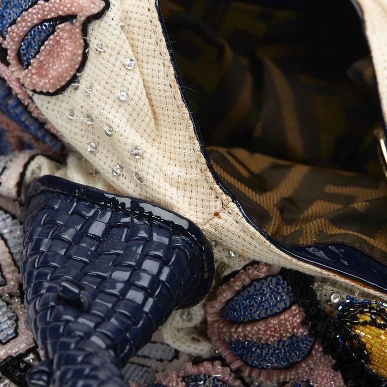 Black 2000s FENDI Multicolour Embelished Floral Spy Bag For Sale