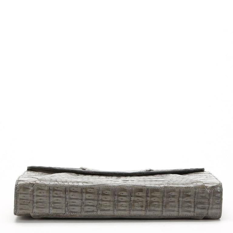 2000s Nancy Gonzalez Grey Crocodile Leather Clutch-on-Strap 4