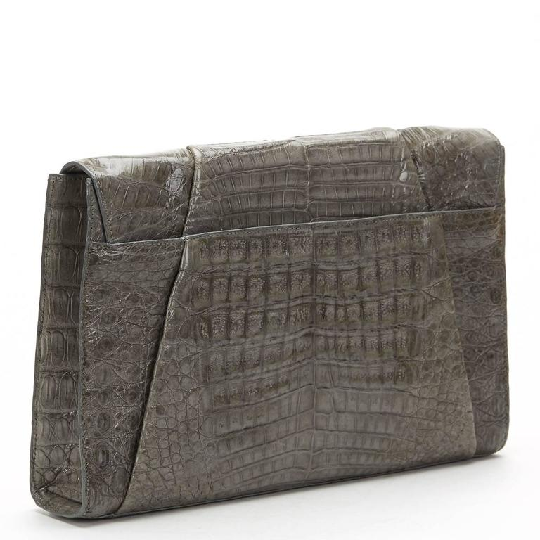 2000s Nancy Gonzalez Grey Crocodile Leather Clutch-on-Strap 5