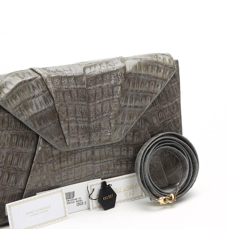 2000s Nancy Gonzalez Grey Crocodile Leather Clutch-on-Strap 9