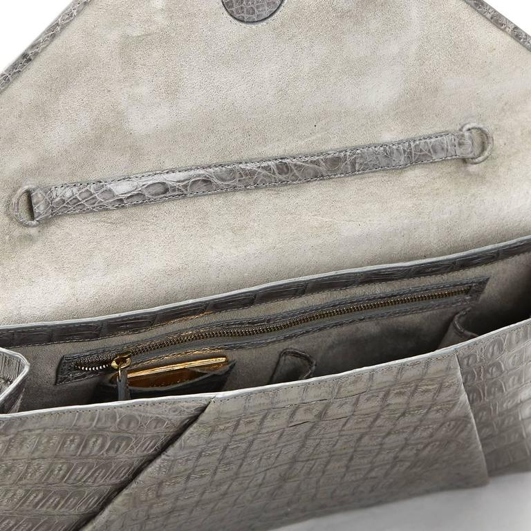 2000s Nancy Gonzalez Grey Crocodile Leather Clutch-on-Strap 7