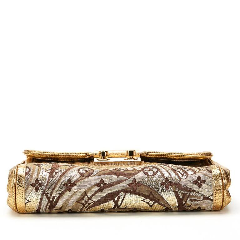 Women's Louis Vuitton Gold Monogram Brocade Thalie Clutch, 2000s  For Sale