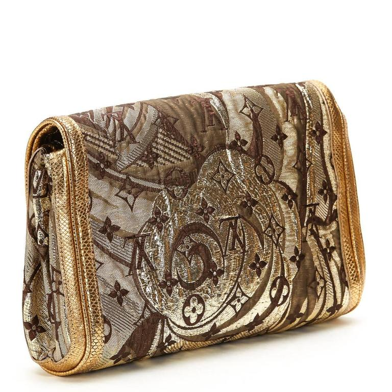 Louis Vuitton Gold Monogram Brocade Thalie Clutch, 2000s  In Excellent Condition For Sale In Bishop's Stortford, Hertfordshire