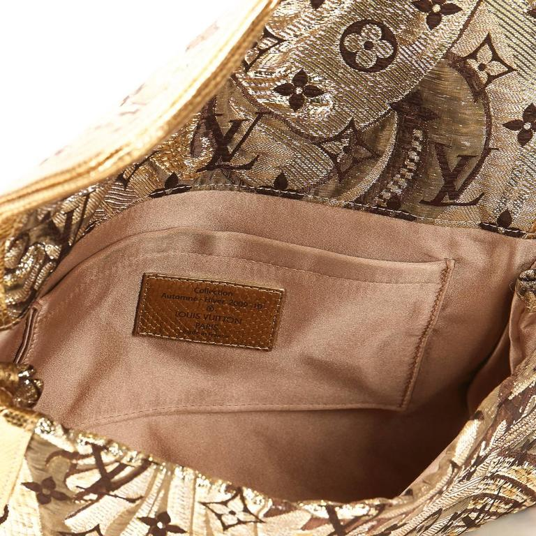 Louis Vuitton Gold Monogram Brocade Thalie Clutch, 2000s  For Sale 1