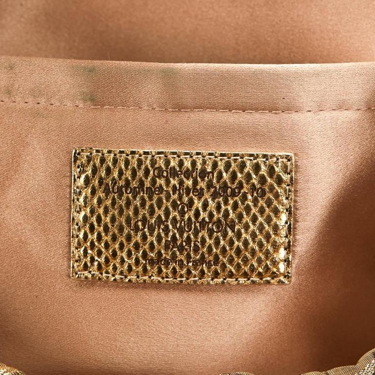 Louis Vuitton Gold Monogram Brocade Thalie Clutch, 2000s  For Sale 2
