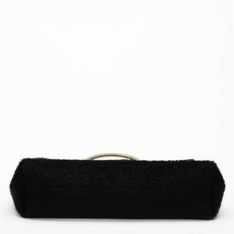 2015 Victoria Beckham Black Shearling Spiral Clutch For Sale 1