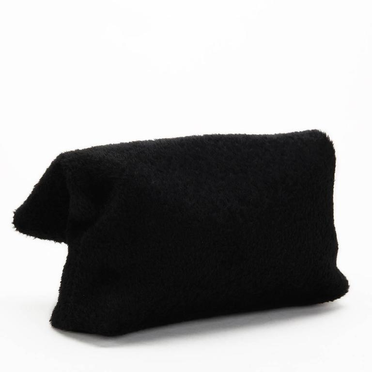 Women's 2015 Victoria Beckham Black Shearling Spiral Clutch For Sale