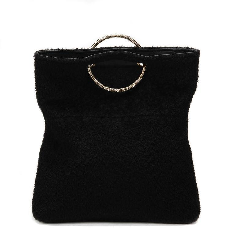 2015 Victoria Beckham Black Shearling Spiral Clutch For Sale 2