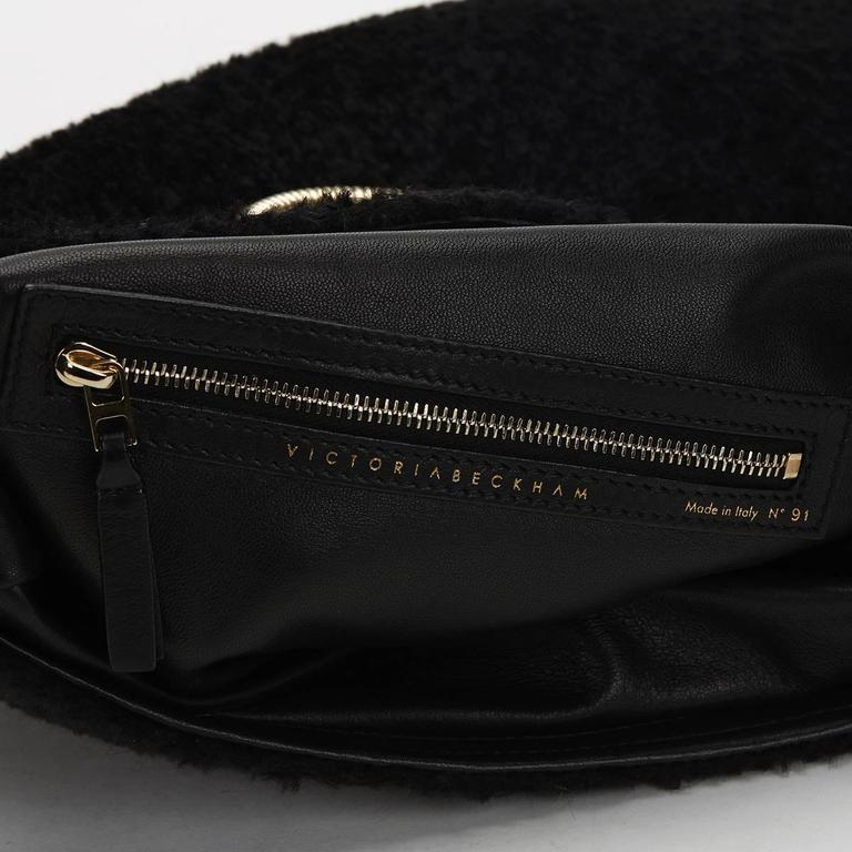 2015 Victoria Beckham Black Shearling Spiral Clutch For Sale 4