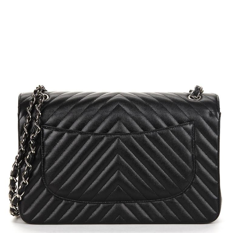 0d4fabef80953a CHANEL BLACK CHEVRON QUILTED CAVIAR LEATHER JUMBO CLASSIC DOUBLE FLAP BAG  2016 This ladies Chanel Jumbo