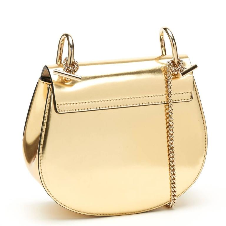 Women's 2016 Chloé Gold Metallic Calfskin Small Drew For Sale