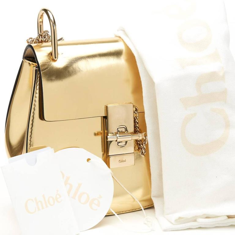 2016 Chloé Gold Metallic Calfskin Small Drew For Sale 6