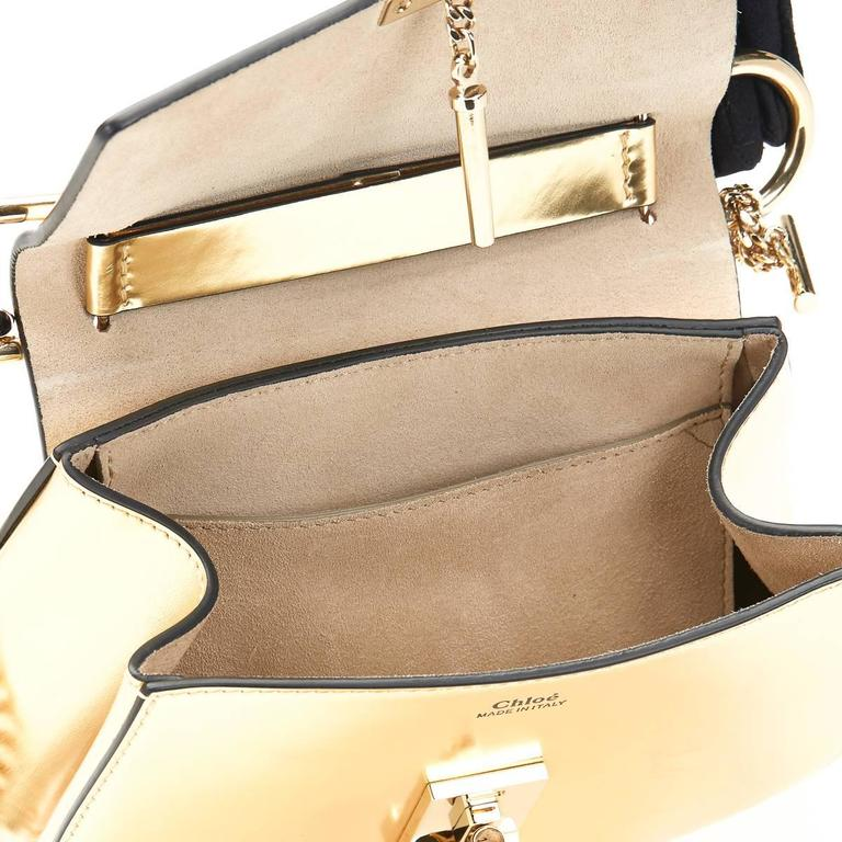 2016 Chloé Gold Metallic Calfskin Small Drew For Sale 5