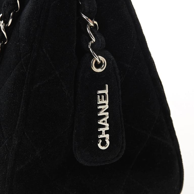 1990s Chanel Black Quilted Velvet Vintage Timeless Shoulder Bag 6