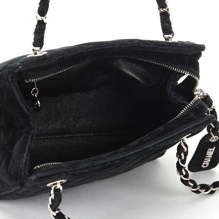 1990s Chanel Black Quilted Velvet Vintage Timeless Shoulder Bag 7
