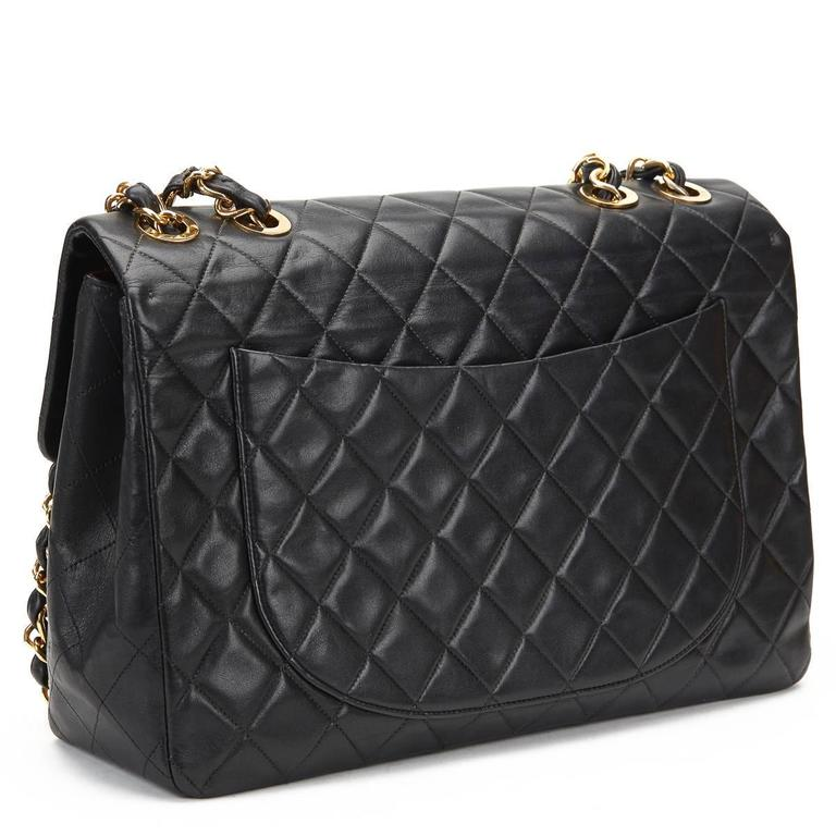 Women's Chanel Black Quilted Lambskin Vintage Maxi Jumbo XL Flap Bag, 1990s  For Sale