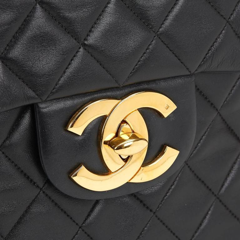 Chanel Black Quilted Lambskin Vintage Maxi Jumbo XL Flap Bag, 1990s  For Sale 5