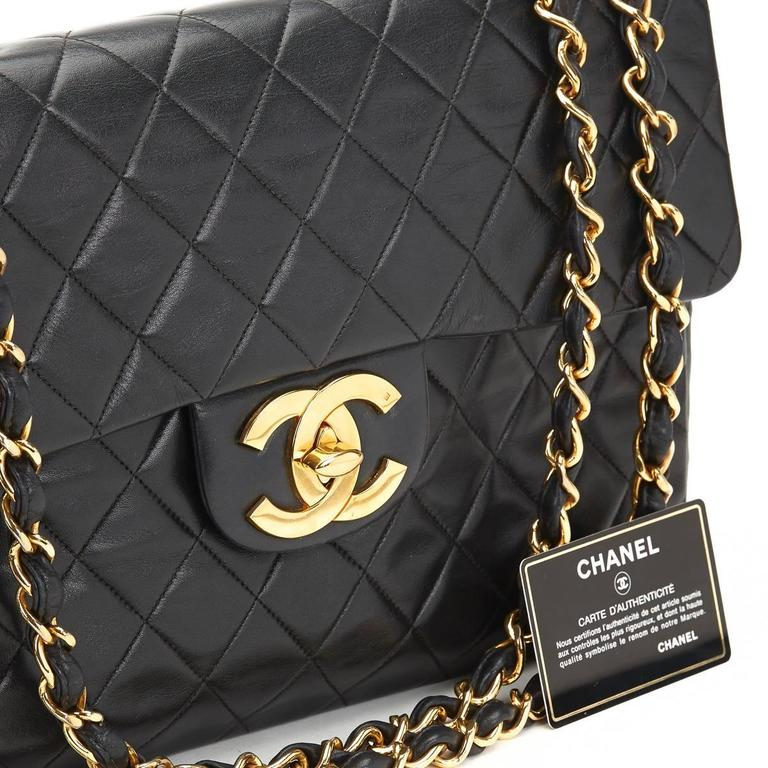 Chanel Black Quilted Lambskin Vintage Maxi Jumbo XL Flap Bag, 1990s  For Sale 6