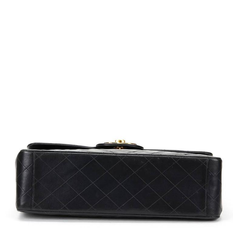 Circa 1994 Chanel Black Quilted Lambskin Vintage Maxi Jumbo XL Flap Bag  For Sale 1