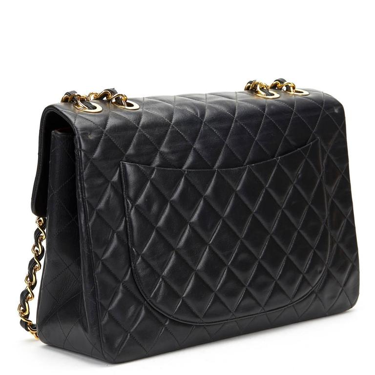 Women's Circa 1994 Chanel Black Quilted Lambskin Vintage Maxi Jumbo XL Flap Bag  For Sale