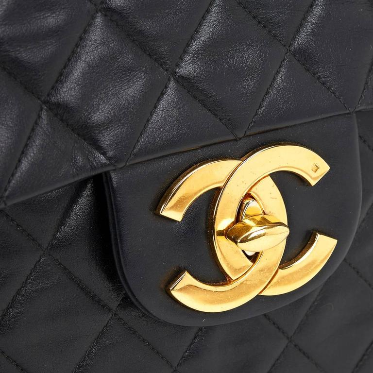 Circa 1994 Chanel Black Quilted Lambskin Vintage Maxi Jumbo XL Flap Bag  For Sale 3