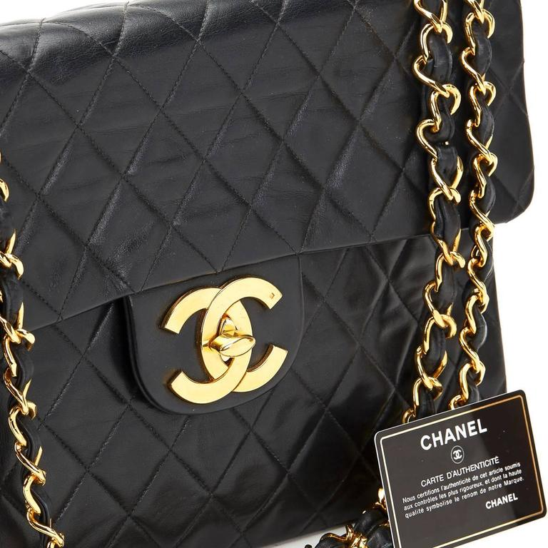 Circa 1994 Chanel Black Quilted Lambskin Vintage Maxi Jumbo XL Flap Bag  For Sale 6