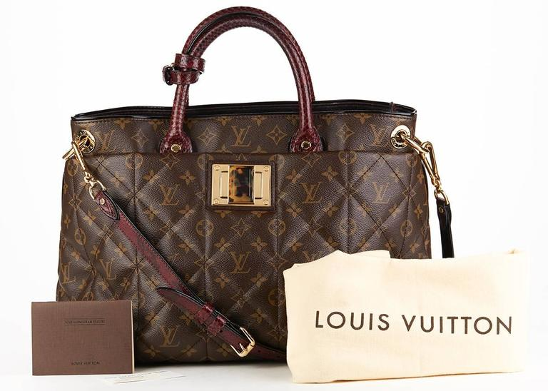 Louis Vuitton Brown Classic Monogram Canvas Ostrich and Python Etoile, 2010s  For Sale 6