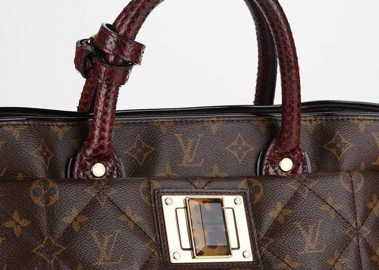 Louis Vuitton Brown Classic Monogram Canvas Ostrich and Python Etoile, 2010s  For Sale 4