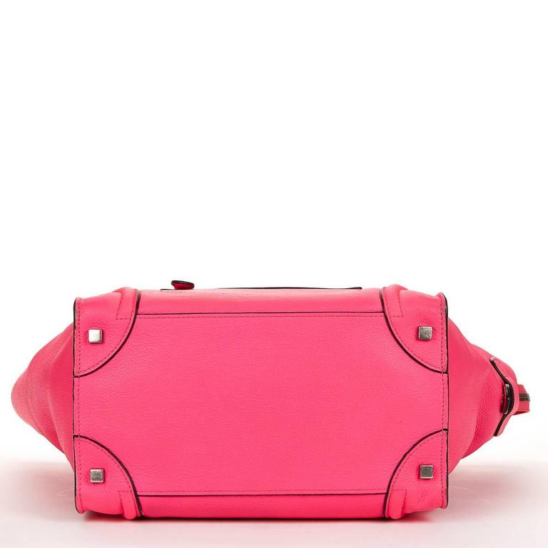 2010s C 233 Line Neon Pink Drummed Leather Mini Luggage Tote At 1stdibs