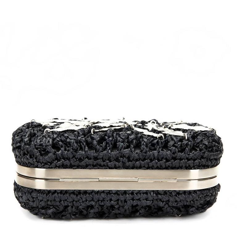 Bottega Veneta Black Raffia Lavorazione Fatta A Mano Knot Clutch, 2000s  For Sale 1