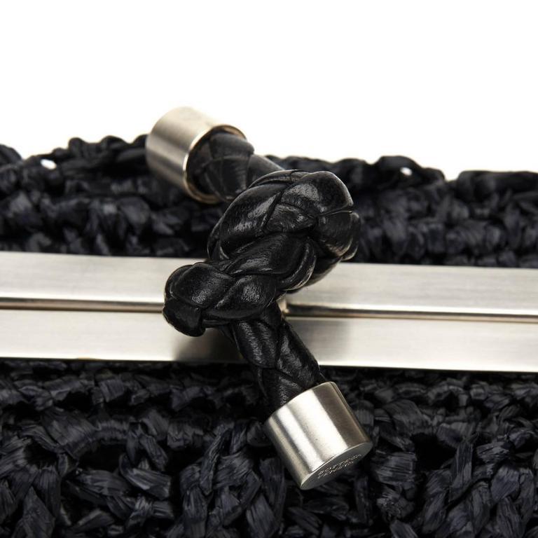 Bottega Veneta Black Raffia Lavorazione Fatta A Mano Knot Clutch, 2000s  For Sale 3