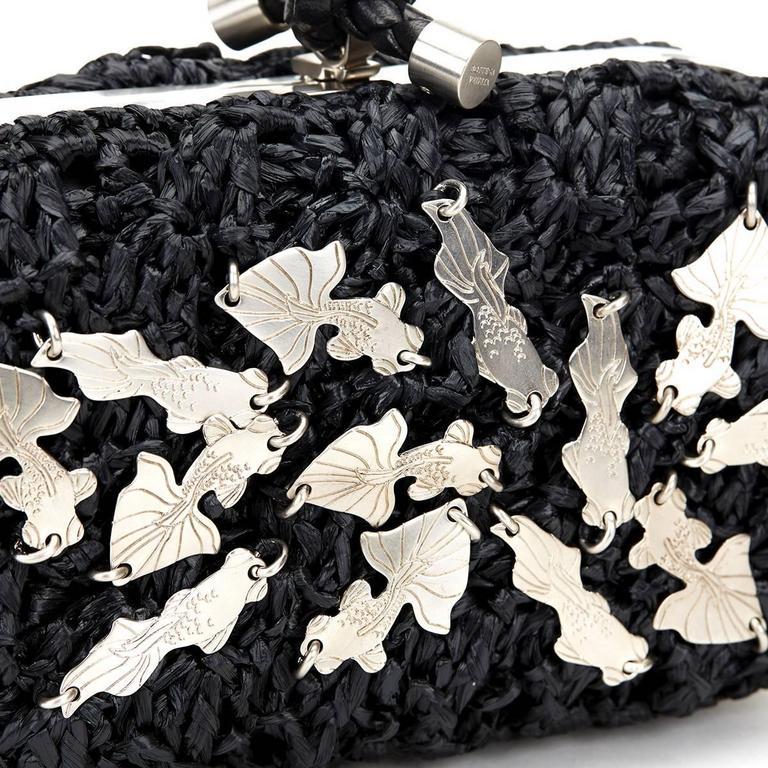 Bottega Veneta Black Raffia Lavorazione Fatta A Mano Knot Clutch, 2000s  For Sale 6