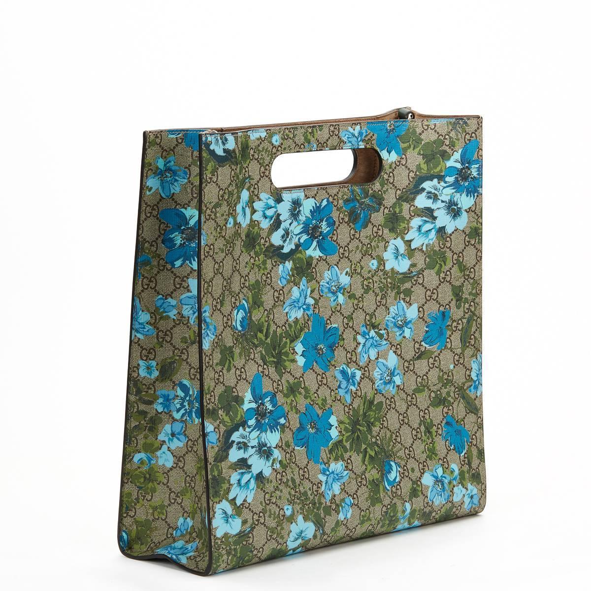 2016 Gucci GG Supreme Canvas XL Floral Print Tote For Sale ...