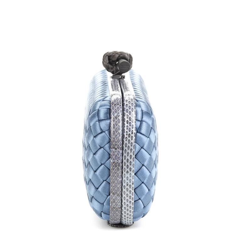 2000s Bottega Veneta Glaucous Blue Woven Satin & Snakeskin Trim Long Knot Clutch 3
