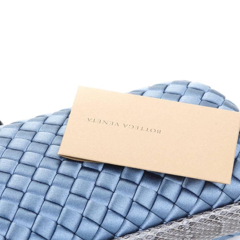 2000s Bottega Veneta Glaucous Blue Woven Satin & Snakeskin Trim Long Knot Clutch 6