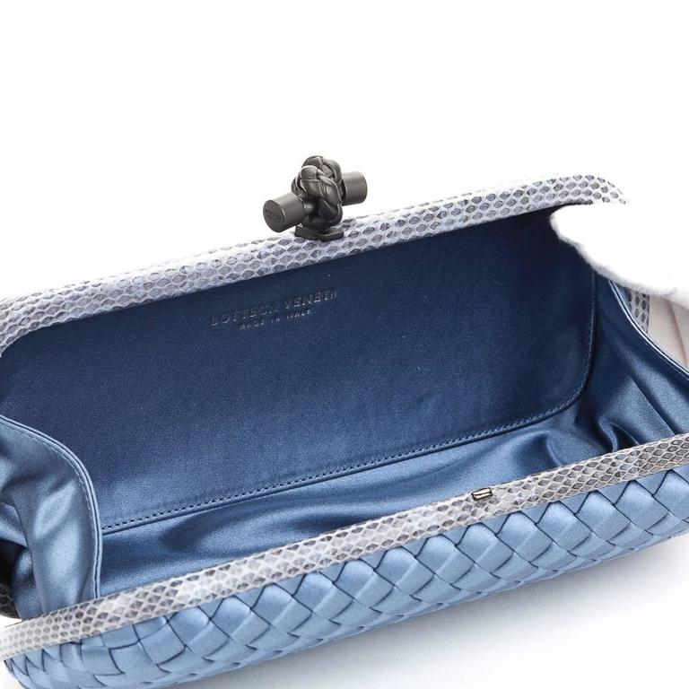 2000s Bottega Veneta Glaucous Blue Woven Satin & Snakeskin Trim Long Knot Clutch 4